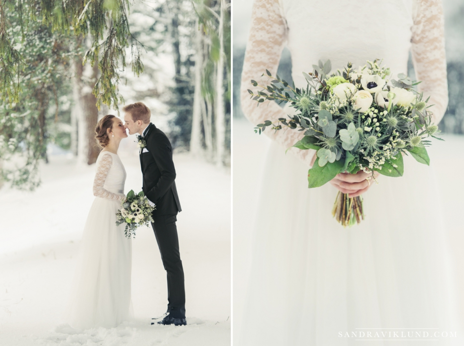Fotograf Umeå bröllopsfotograf vinterbröllop själevads kyrka